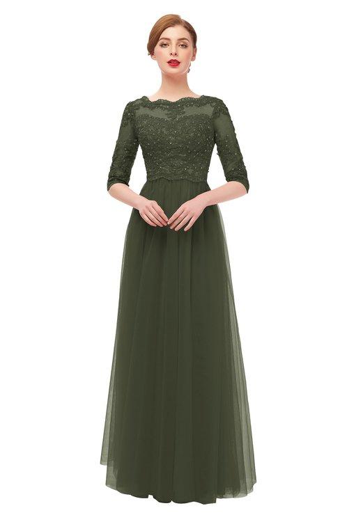 ColsBM Billie Winter Moss Bridesmaid Dresses Scalloped Edge Ruching Zip up Half Length Sleeve Mature A-line