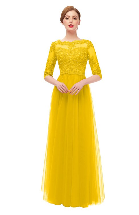 ColsBM Billie Yellow Bridesmaid Dresses Scalloped Edge Ruching Zip up Half Length Sleeve Mature A-line