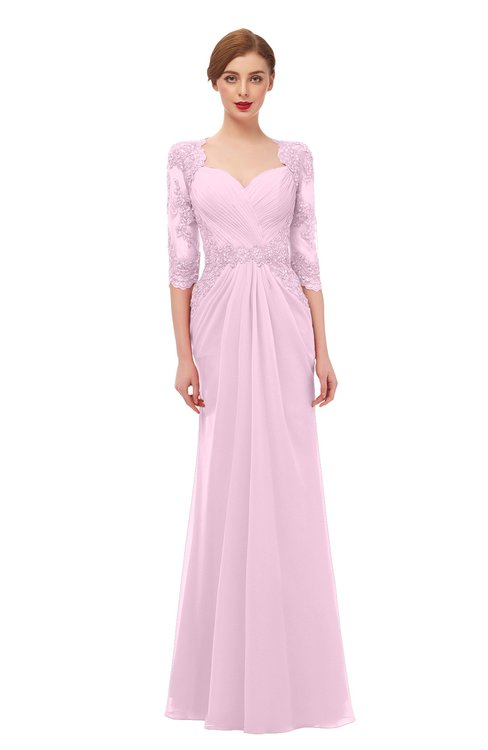 ColsBM Bronte Baby Pink Bridesmaid Dresses Elbow Length Sleeve Pleated Mermaid Zipper Floor Length Glamorous
