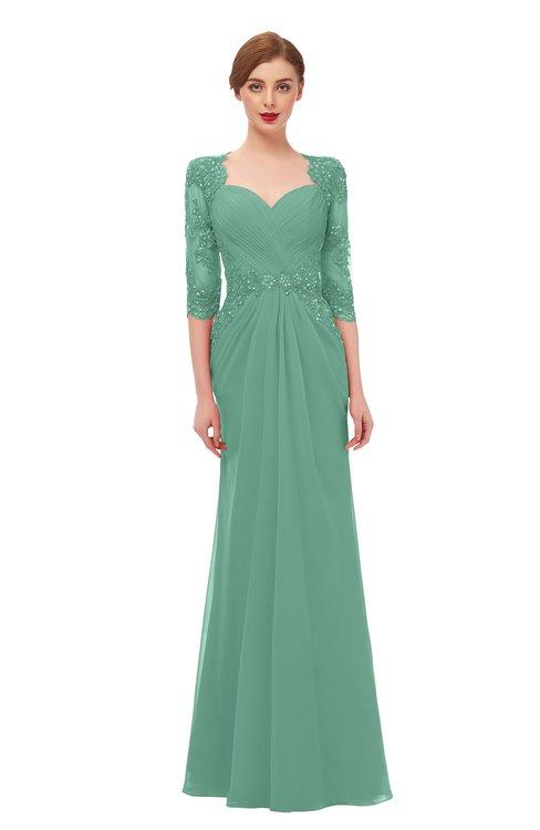 ColsBM Bronte Beryl Green Bridesmaid Dresses Elbow Length Sleeve Pleated Mermaid Zipper Floor Length Glamorous