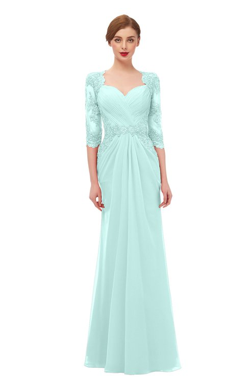 ColsBM Bronte Blue Glass Bridesmaid Dresses Elbow Length Sleeve Pleated Mermaid Zipper Floor Length Glamorous