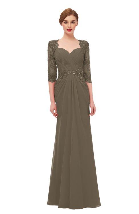 ColsBM Bronte Carafe Brown Bridesmaid Dresses Elbow Length Sleeve Pleated Mermaid Zipper Floor Length Glamorous