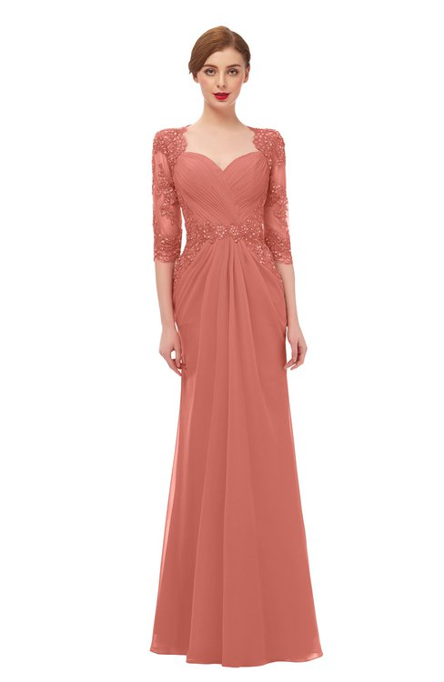 ColsBM Bronte Crabapple Bridesmaid Dresses Elbow Length Sleeve Pleated Mermaid Zipper Floor Length Glamorous