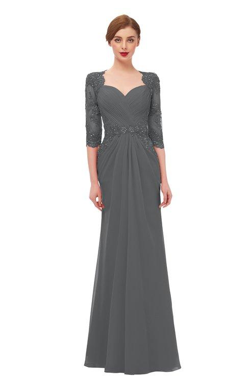 ColsBM Bronte Grey Bridesmaid Dresses Elbow Length Sleeve Pleated Mermaid Zipper Floor Length Glamorous