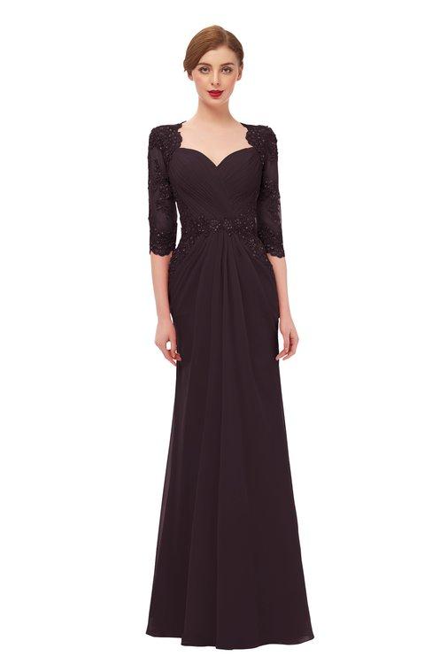 ColsBM Bronte Italian Plum Bridesmaid Dresses Elbow Length Sleeve Pleated Mermaid Zipper Floor Length Glamorous