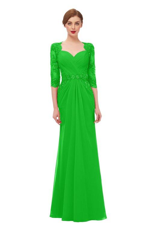 ColsBM Bronte Jasmine Green Bridesmaid Dresses Elbow Length Sleeve Pleated Mermaid Zipper Floor Length Glamorous