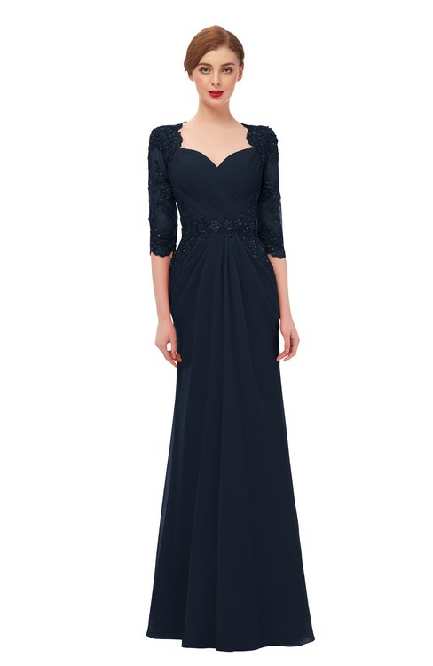 ColsBM Bronte Navy Blue Bridesmaid Dresses Elbow Length Sleeve Pleated Mermaid Zipper Floor Length Glamorous
