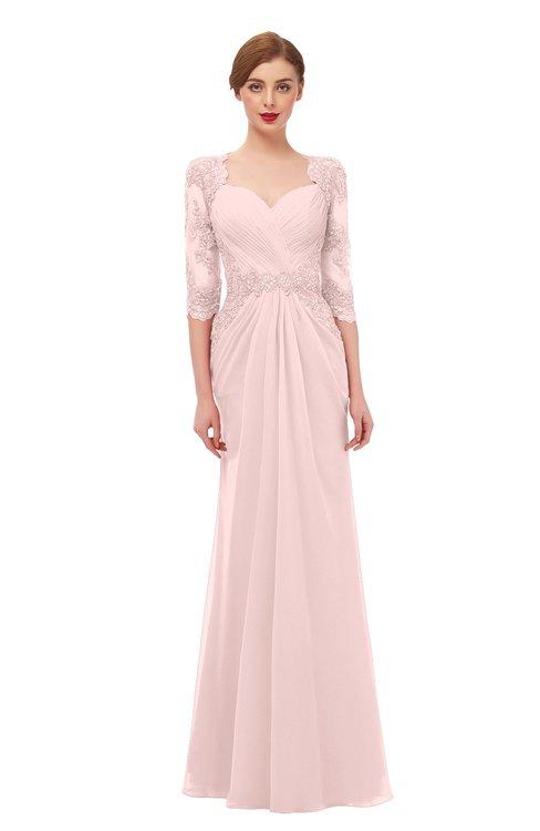 ColsBM Bronte Pastel Pink Bridesmaid Dresses Elbow Length Sleeve Pleated Mermaid Zipper Floor Length Glamorous