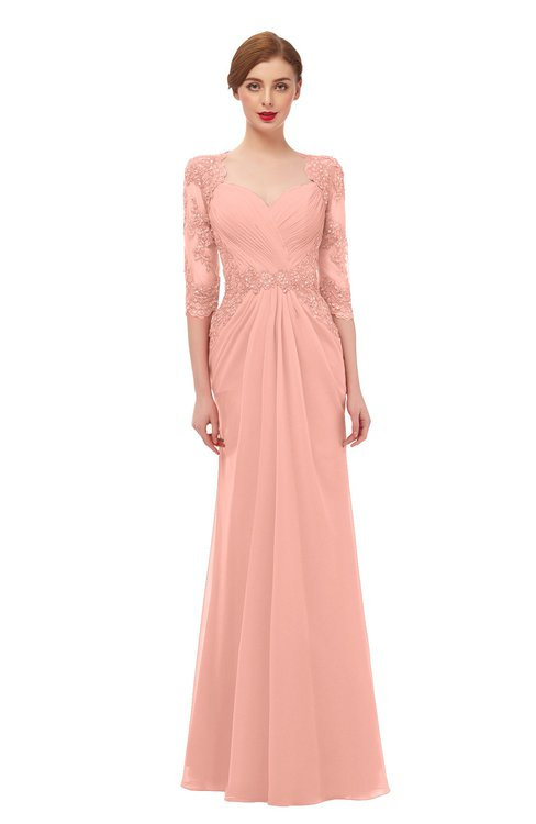 ColsBM Bronte Peach Bridesmaid Dresses Elbow Length Sleeve Pleated Mermaid Zipper Floor Length Glamorous