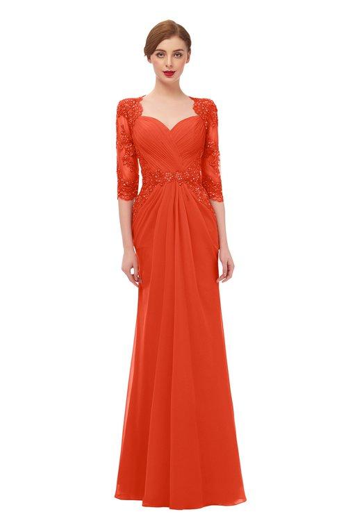 ColsBM Bronte Persimmon Bridesmaid Dresses Elbow Length Sleeve Pleated Mermaid Zipper Floor Length Glamorous