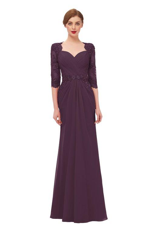 ColsBM Bronte Plum Bridesmaid Dresses Elbow Length Sleeve Pleated Mermaid Zipper Floor Length Glamorous