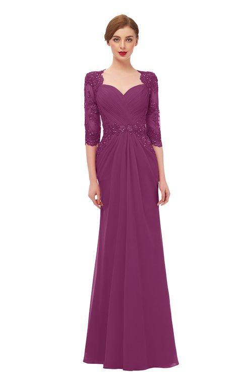 ColsBM Bronte Raspberry Bridesmaid Dresses Elbow Length Sleeve Pleated Mermaid Zipper Floor Length Glamorous