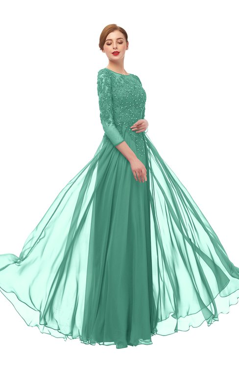 ColsBM Dixie Beryl Green Bridesmaid Dresses Lace Zip up Mature Floor Length Bateau Three-fourths Length Sleeve