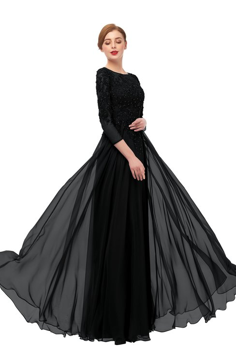 ColsBM Dixie Black Bridesmaid Dresses Lace Zip up Mature Floor Length Bateau Three-fourths Length Sleeve