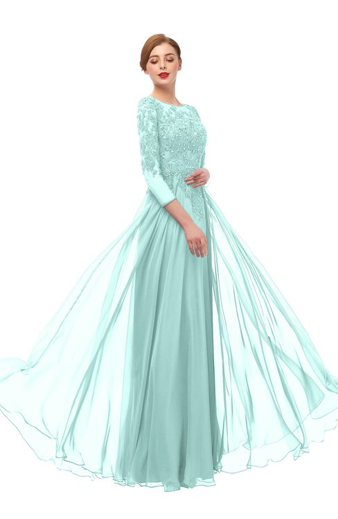 ColsBM Dixie Blue Glass Bridesmaid Dresses Lace Zip up Mature Floor Length Bateau Three-fourths Length Sleeve