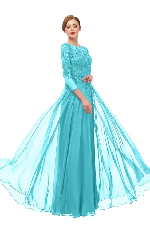 ColsBM Dixie Blue Radiance Bridesmaid Dresses Lace Zip up Mature Floor Length Bateau Three-fourths Length Sleeve