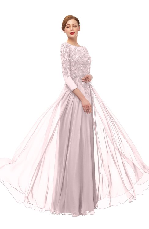 ColsBM Dixie Blush Bridesmaid Dresses Lace Zip up Mature Floor Length Bateau Three-fourths Length Sleeve