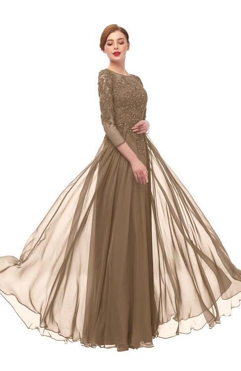 ColsBM Dixie Bronze Brown Bridesmaid Dresses Lace Zip up Mature Floor Length Bateau Three-fourths Length Sleeve