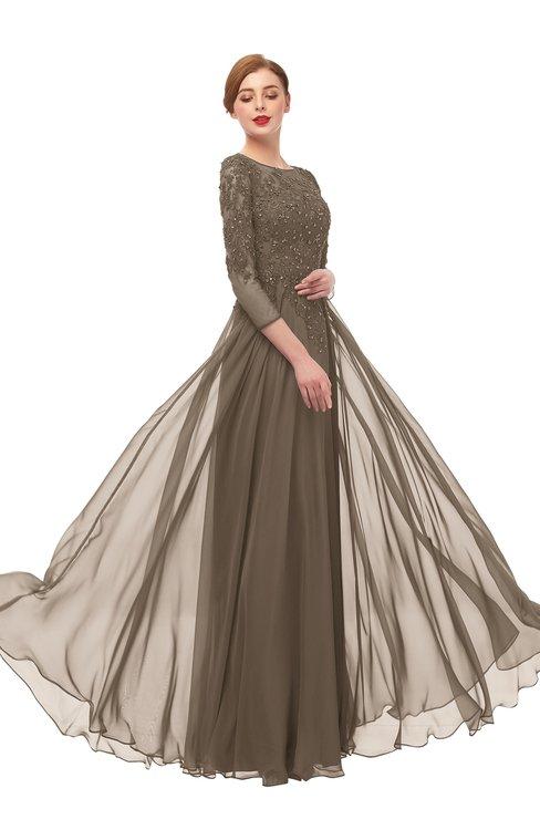 ColsBM Dixie Chocolate Brown Bridesmaid Dresses Lace Zip up Mature Floor Length Bateau Three-fourths Length Sleeve