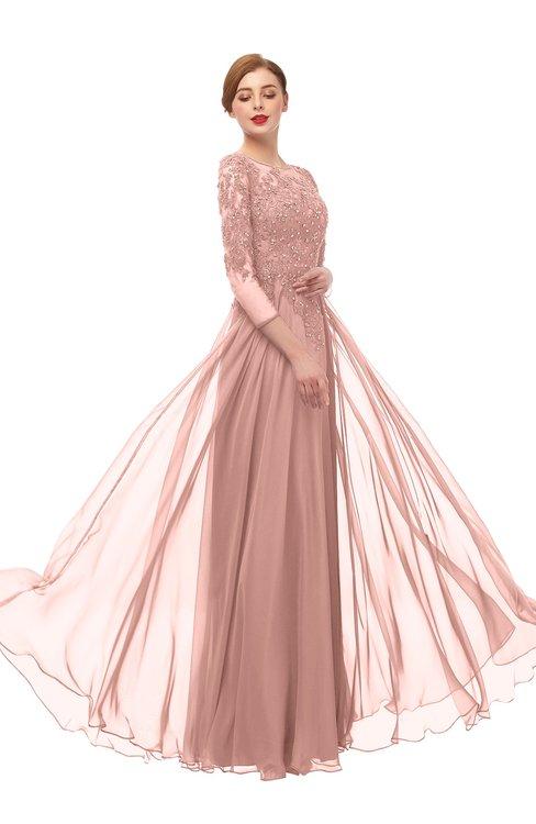 ColsBM Dixie Coral Almond Bridesmaid Dresses Lace Zip up Mature Floor Length Bateau Three-fourths Length Sleeve