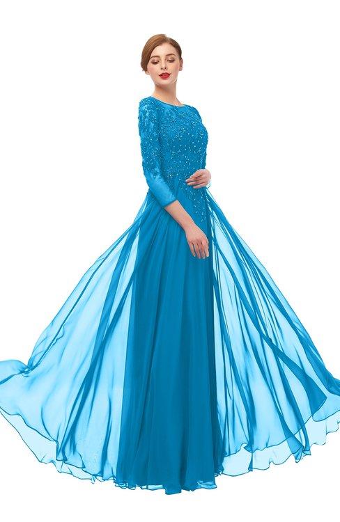ColsBM Dixie Cornflower Blue Bridesmaid Dresses Lace Zip up Mature Floor Length Bateau Three-fourths Length Sleeve