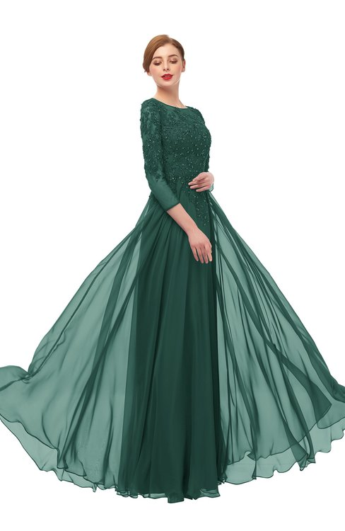 ColsBM Dixie Dark Jade Bridesmaid Dresses Lace Zip up Mature Floor Length Bateau Three-fourths Length Sleeve