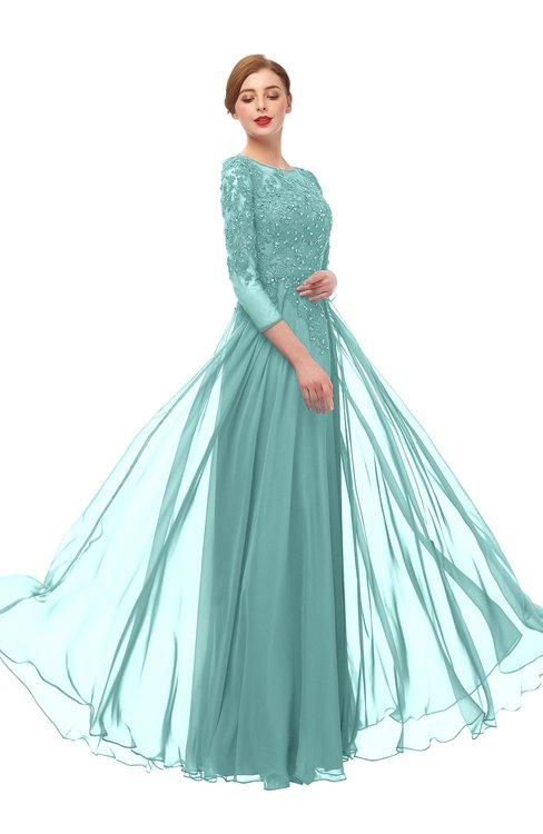 ColsBM Dixie Eggshell Blue Bridesmaid Dresses Lace Zip up Mature Floor Length Bateau Three-fourths Length Sleeve