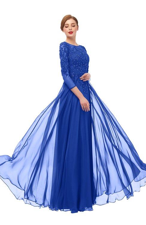 ColsBM Dixie Electric Blue Bridesmaid Dresses Lace Zip up Mature Floor Length Bateau Three-fourths Length Sleeve