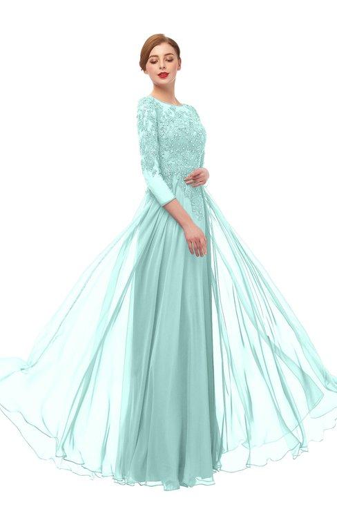 ColsBM Dixie Fair Aqua Bridesmaid Dresses Lace Zip up Mature Floor Length Bateau Three-fourths Length Sleeve