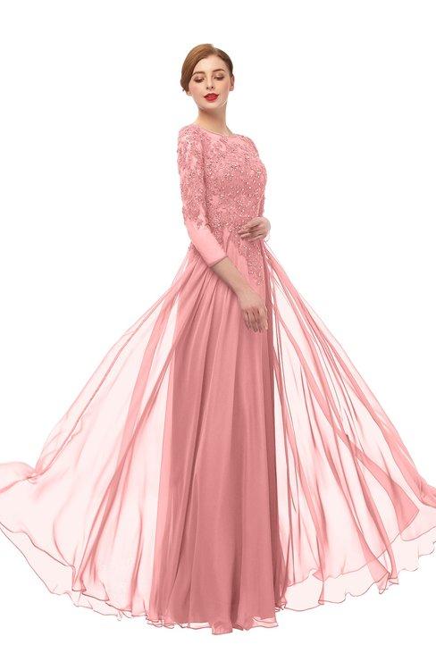 ColsBM Dixie Flamingo Pink Bridesmaid Dresses Lace Zip up Mature Floor Length Bateau Three-fourths Length Sleeve