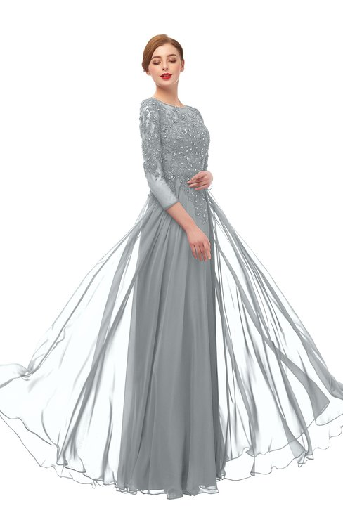 ColsBM Dixie Frost Grey Bridesmaid Dresses Lace Zip up Mature Floor Length Bateau Three-fourths Length Sleeve