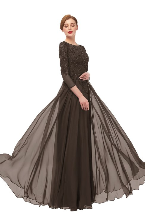 ColsBM Dixie Fudge Brown Bridesmaid Dresses Lace Zip up Mature Floor Length Bateau Three-fourths Length Sleeve