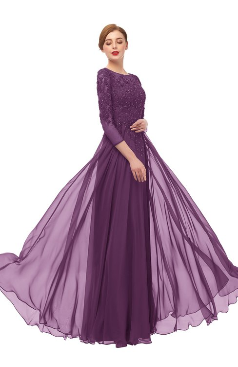 ColsBM Dixie Grape Juice Bridesmaid Dresses Lace Zip up Mature Floor Length Bateau Three-fourths Length Sleeve