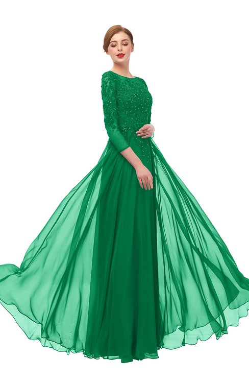 ColsBM Dixie Green Bridesmaid Dresses Lace Zip up Mature Floor Length Bateau Three-fourths Length Sleeve