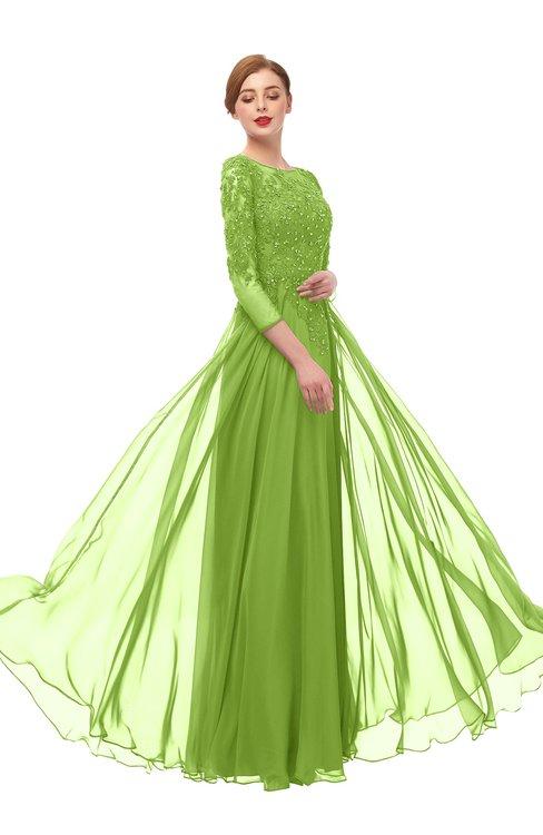 ColsBM Dixie Greenery Bridesmaid Dresses Lace Zip up Mature Floor Length Bateau Three-fourths Length Sleeve