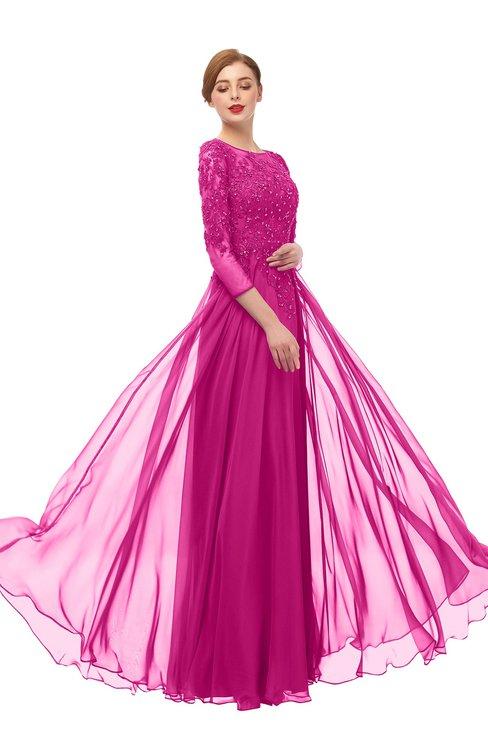 ColsBM Dixie Hot Pink Bridesmaid Dresses Lace Zip up Mature Floor Length Bateau Three-fourths Length Sleeve