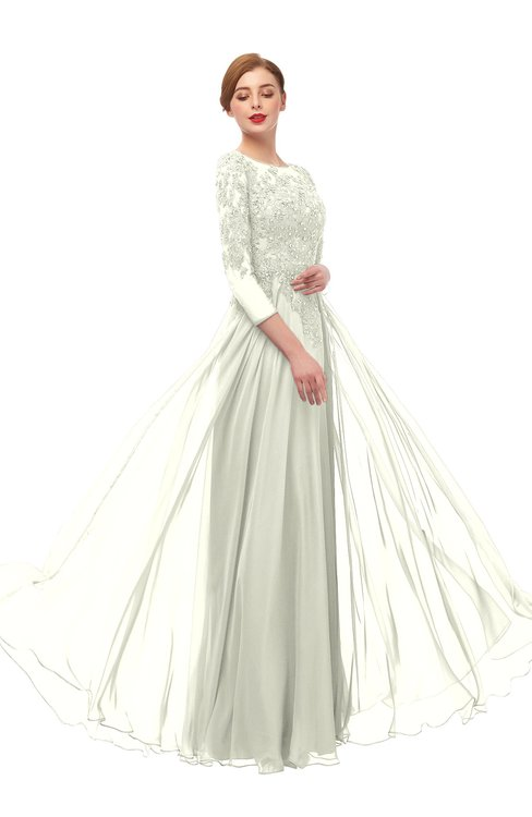 ColsBM Dixie Ivory Bridesmaid Dresses Lace Zip up Mature Floor Length Bateau Three-fourths Length Sleeve