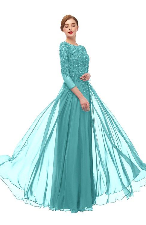 ColsBM Dixie Lake Blue Bridesmaid Dresses Lace Zip up Mature Floor Length Bateau Three-fourths Length Sleeve