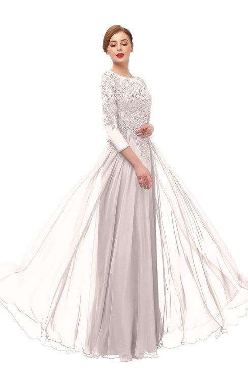 ColsBM Dixie Light Pink Bridesmaid Dresses Lace Zip up Mature Floor Length Bateau Three-fourths Length Sleeve