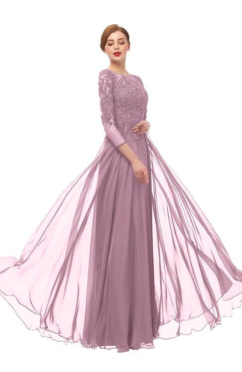ColsBM Dixie Lilas Bridesmaid Dresses Lace Zip up Mature Floor Length Bateau Three-fourths Length Sleeve
