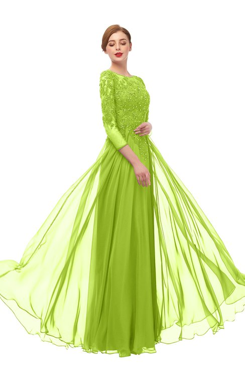 ColsBM Dixie Lime Green Bridesmaid Dresses Lace Zip up Mature Floor Length Bateau Three-fourths Length Sleeve