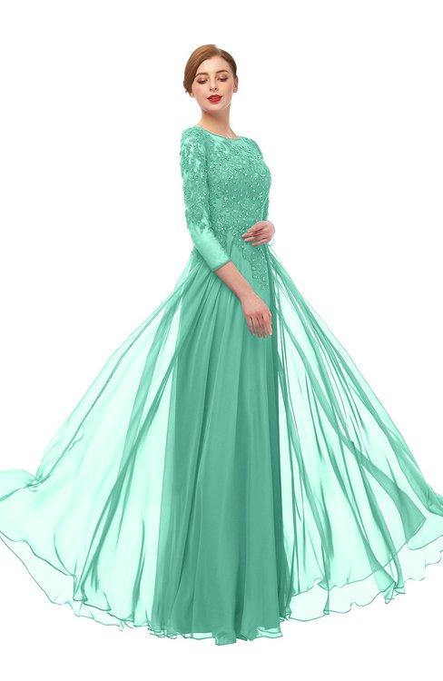 ColsBM Dixie Lucite Green Bridesmaid Dresses Lace Zip up Mature Floor Length Bateau Three-fourths Length Sleeve