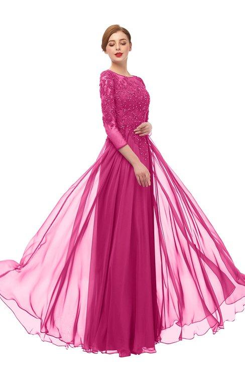 ColsBM Dixie Magenta M15 Bridesmaid Dresses Lace Zip up Mature Floor Length Bateau Three-fourths Length Sleeve