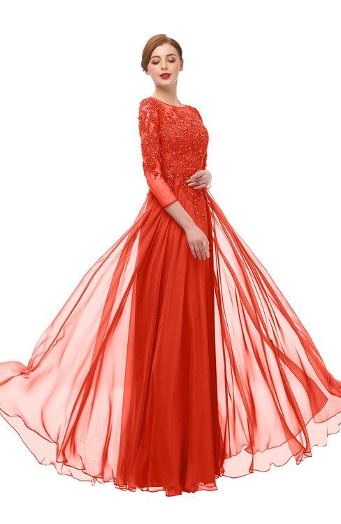 ColsBM Dixie Mandarin Red Bridesmaid Dresses Lace Zip up Mature Floor Length Bateau Three-fourths Length Sleeve