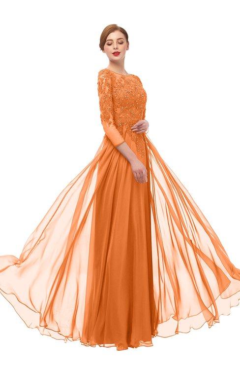 ColsBM Dixie Mango Bridesmaid Dresses Lace Zip up Mature Floor Length Bateau Three-fourths Length Sleeve