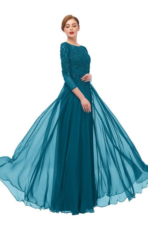 ColsBM Dixie Midnight Blue Bridesmaid Dresses Lace Zip up Mature Floor Length Bateau Three-fourths Length Sleeve