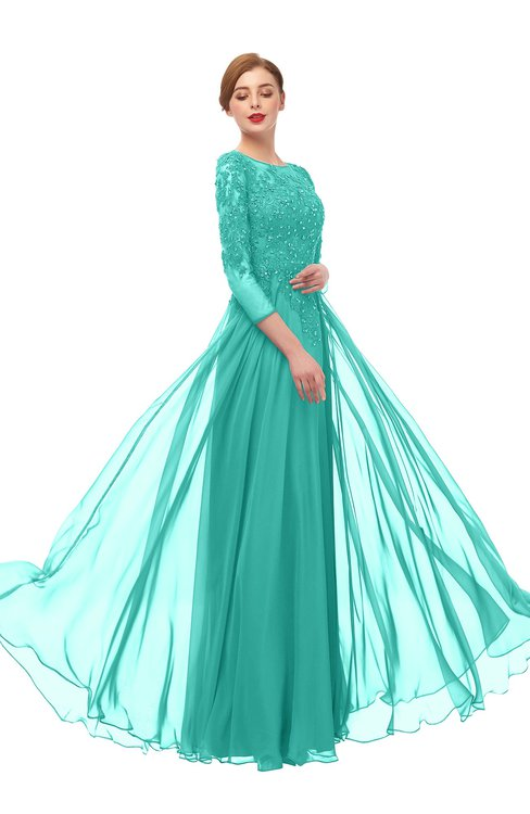 ColsBM Dixie Mint Green Bridesmaid Dresses Lace Zip up Mature Floor Length Bateau Three-fourths Length Sleeve
