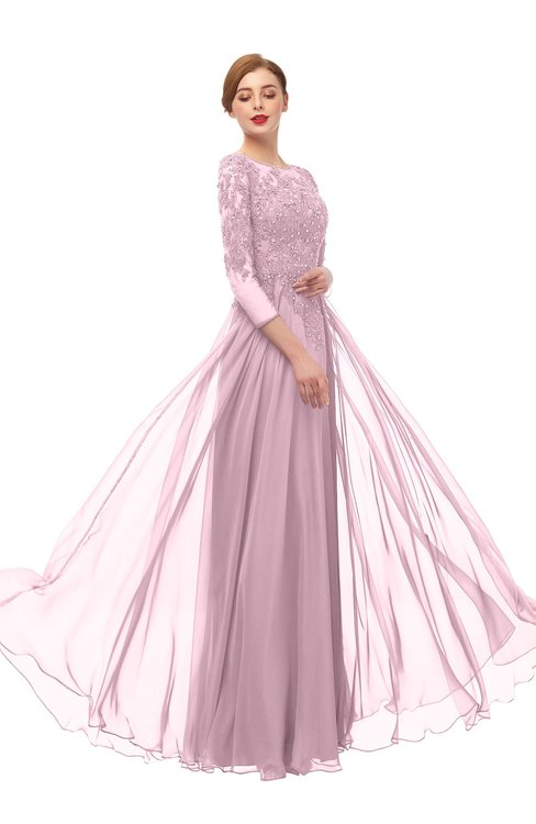 ColsBM Dixie Mist Pink Bridesmaid Dresses Lace Zip up Mature Floor Length Bateau Three-fourths Length Sleeve