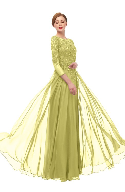 ColsBM Dixie Muted Lime Bridesmaid Dresses Lace Zip up Mature Floor Length Bateau Three-fourths Length Sleeve