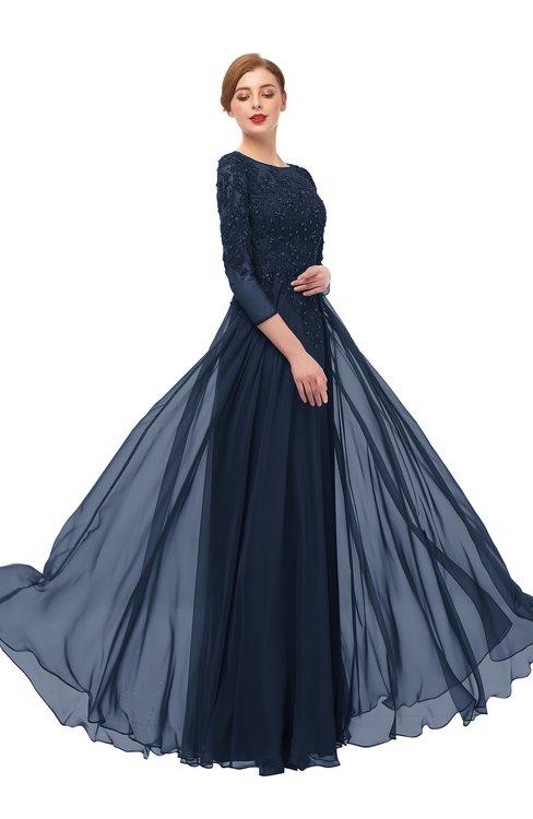 ColsBM Dixie Navy Blue Bridesmaid Dresses Lace Zip up Mature Floor Length Bateau Three-fourths Length Sleeve